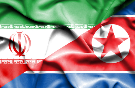 north korea: Waving flag of North Korea and Iran