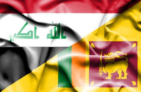 iraq conflict: Waving flag of Sri Lanka and Iraq
