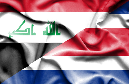 costa rican flag: Waving flag of Costa Rica and Iraq
