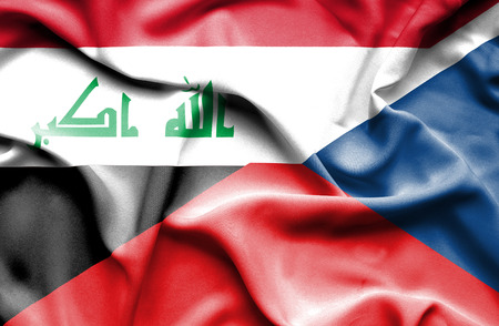 iraq money: Waving flag of Czech Republic and Iraq Stock Photo