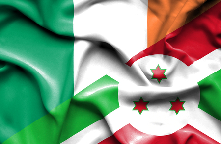 ireland flag: Waving flag of Burundi and Ireland
