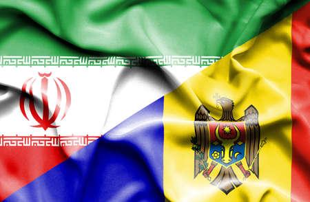moldavia: Waving flag of Moldavia and Iran