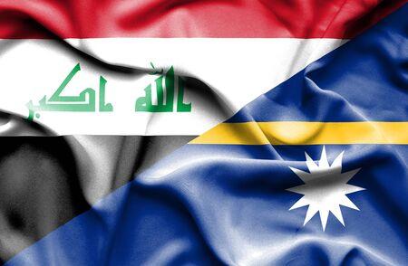iraq conflict: Waving flag of Nauru and Iraq