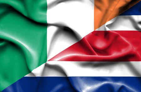 ireland flag: Waving flag of Costa Rica and Ireland Stock Photo