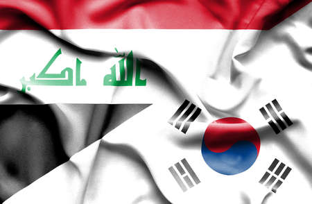 iraq conflict: Waving flag of South Korea and Iraq Stock Photo