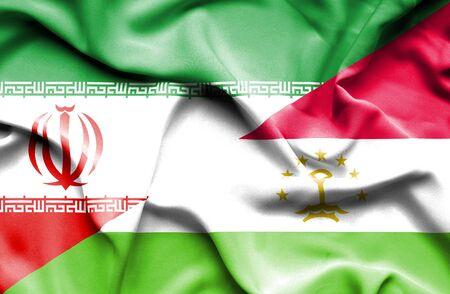 economy of tajikistan: Waving flag of Tajikistan and Iran