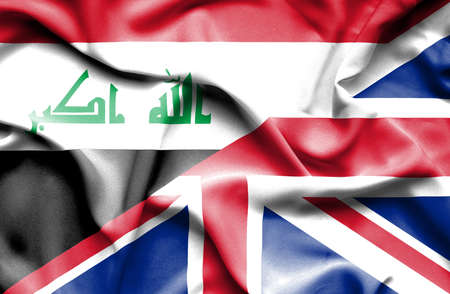 iraq money: Waving flag of United Kingdom and Iraq