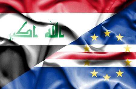 verde: Waving flag of Cape Verde and Iraq Stock Photo