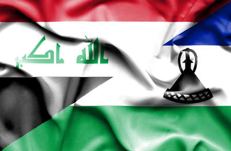 iraq conflict: Waving flag of Lesotho and Iraq