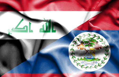 belize: Waving flag of Belize and Iraq