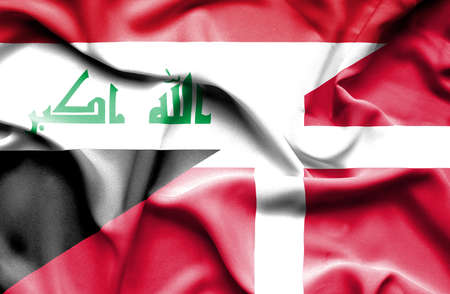 iraq money: Waving flag of Denmark and Iraq