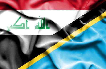 tanzania: Waving flag of Tanzania and Iraq