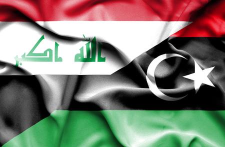 iraq conflict: Waving flag of Libya and Iraq