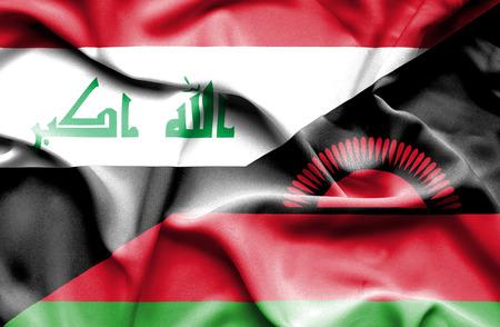 malawi: Waving flag of Malawi and Iraq Stock Photo