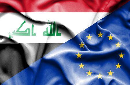 iraq war: Waving flag of European Union and Iraq Stock Photo