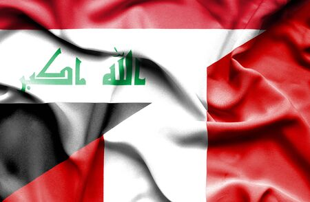 iraq money: Waving flag of Peru and Iraq