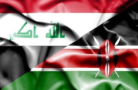 iraq war: Waving flag of Kenya and Iraq