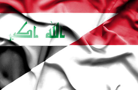 iraq war: Waving flag of Monaco and Iraq
