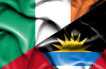 antigua: Waving flag of Antigua and Barbuda and Ireland Stock Photo