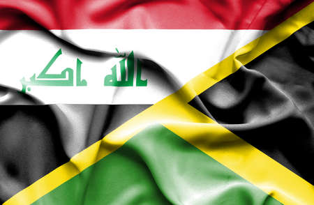 iraq conflict: Waving flag of Jamaica and Iraq