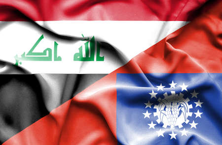 iraq conflict: Waving flag of Myanmar and Iraq