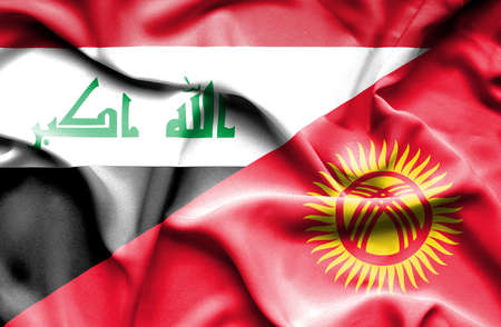 iraq conflict: Waving flag of Kyrgyzstan and Iraq Stock Photo
