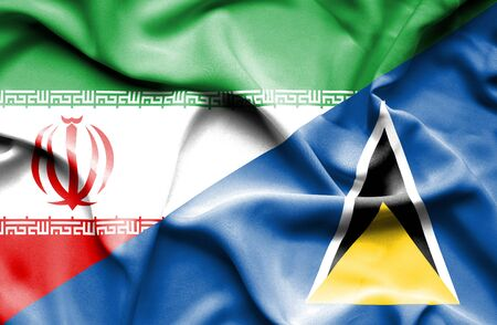 st lucia: Waving flag of St Lucia and Iran