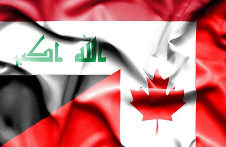 iraq conflict: Waving flag of Canada and Iraq