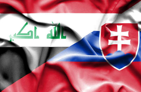 iraq money: Waving flag of Slovakia and Iraq Stock Photo