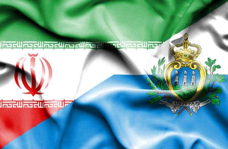 marino: Waving flag of San Marino and Iran