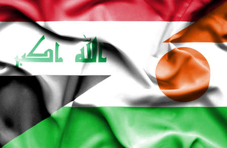 iraq conflict: Waving flag of Niger and Iraq Stock Photo