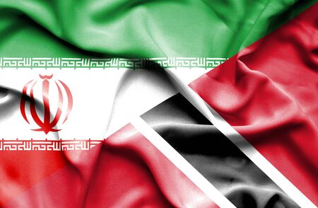 trinidad and tobago: Waving flag of Trinidad and Tobago and Iran Stock Photo