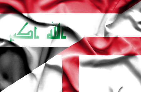 iraq conflict: Waving flag of England and Iraq Stock Photo