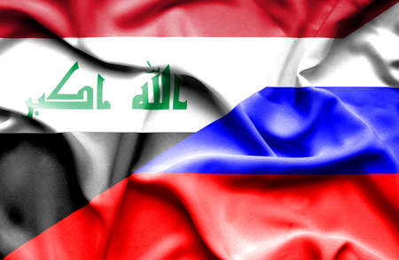 iraq conflict: Waving flag of Russia and Iraq