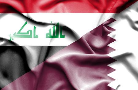iraq conflict: Waving flag of Qatar and Iraq Stock Photo