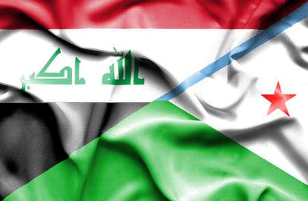 iraq war: Waving flag of Dijbouti and Iraq