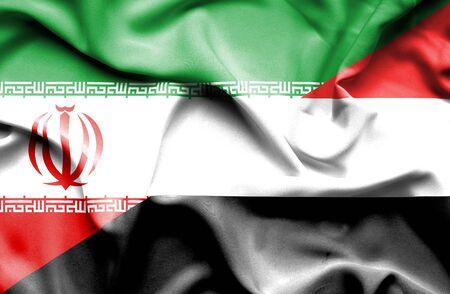 yemen: Waving flag of Yemen and Iran