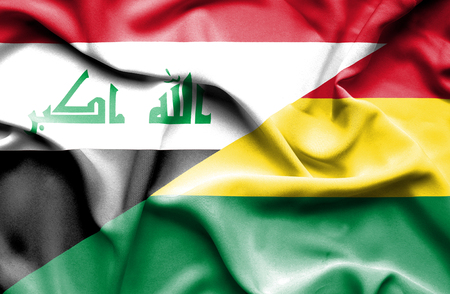 iraq money: Waving flag of Bolivia and Iraq