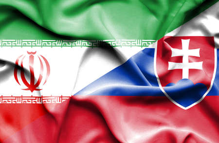 iran: Waving flag of Slovakia and Iran