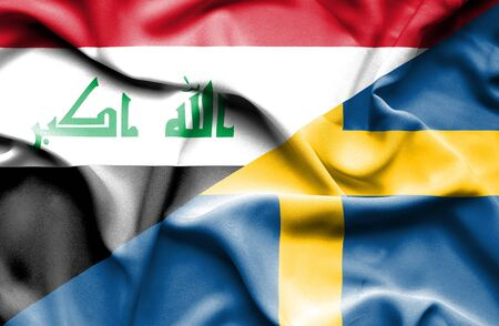 iraq conflict: Waving flag of Sweden and Iraq