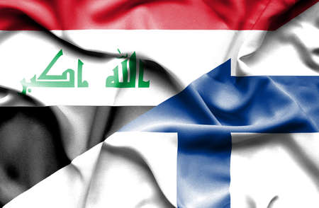 iraq money: Waving flag of Finland and Iraq Stock Photo
