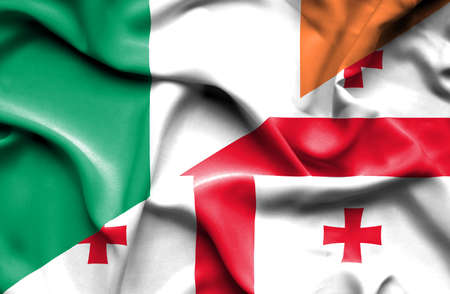 ireland flag: Waving flag of Georgia and Ireland
