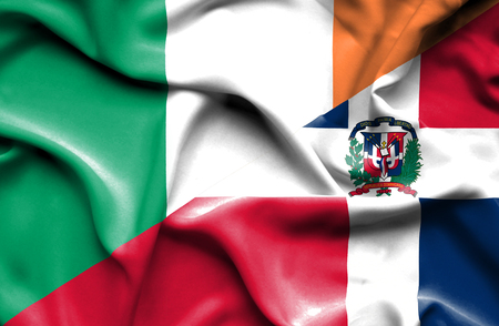 dominican republic: Waving flag of Dominican Republic and Ireland