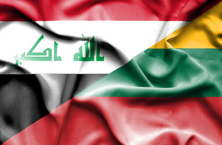 iraq conflict: Waving flag of Lithuania and Iraq