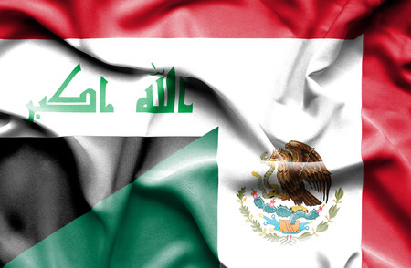 iraq money: Waving flag of Mexico and Iraq
