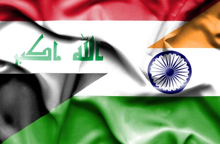 iraq conflict: Waving flag of India and Iraq Stock Photo