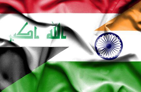 iraq war: Waving flag of India and Iraq Stock Photo