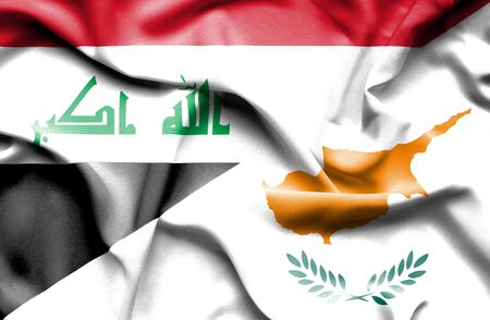 iraq money: Waving flag of Cyprus and Iraq Stock Photo