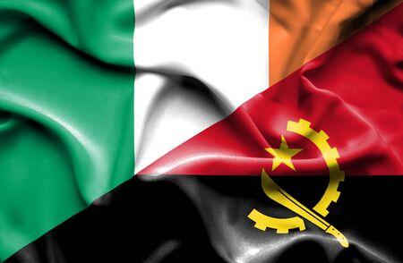 ireland flag: Waving flag of Angola and Ireland