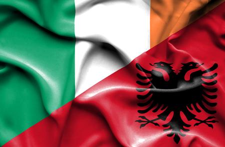 irish history: Waving flag of Albania and Ireland